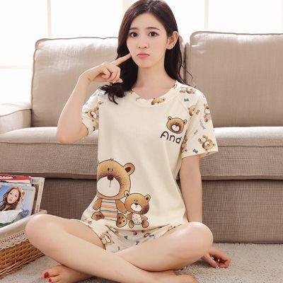 俩件套装韩版可爱家居服女士宽松薄款套头夏季短袖T恤短裤睡衣女