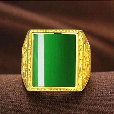 越南沙金戒指玛瑙玉石玉髓戒面镀金板指活口男士款指环彰显尊贵