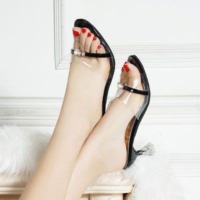 仙女风水晶透明透气韩版凉拖鞋女夏外穿时尚2020新款粗中跟一字拖