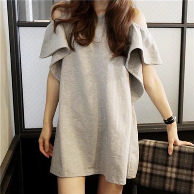 露肩短袖t恤女韩版蝙蝠袖中长款学生体恤纯色宽松大码女装上衣潮