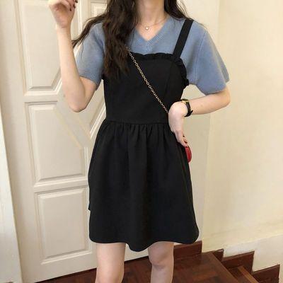 2020春夏季气质黑色背带裙韩版宽松显瘦木耳边压褶连衣裙女中长款