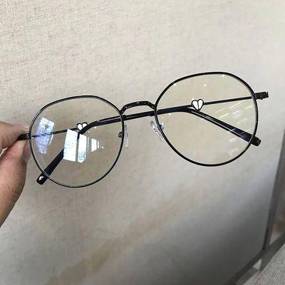 韩版网红同款近视眼镜女爱心镜腿防蓝光防辐射桃心圆脸可爱眼镜女