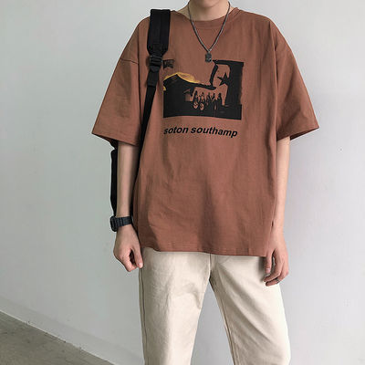 港风夏季五分袖男士t恤ins潮流印花韩版宽松短袖T恤衫半袖tee体恤
