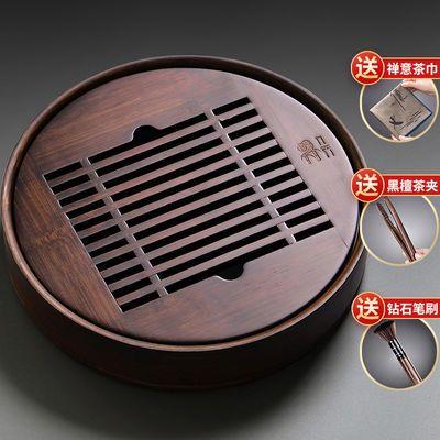 小型茶盘家用储水式托盘移动茶具茶台简易竹制圆形蓄水茶海干泡盘