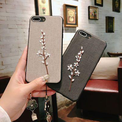 iPhoneX刺绣花苹果7plus手机壳11挂绳6s套8女防摔Xr硅胶plus软壳S