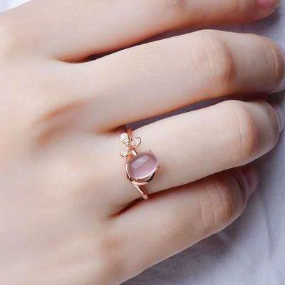 假一赔十真品银戒指女戒指天然水晶芙蓉石开口戒指彩金送母亲礼物