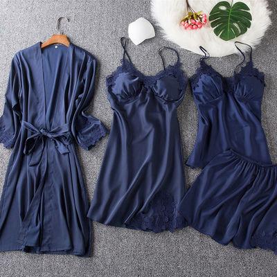睡衣女春秋冰丝绸性感吊带带胸垫睡裙夏薄款长袖睡袍四件套家居服