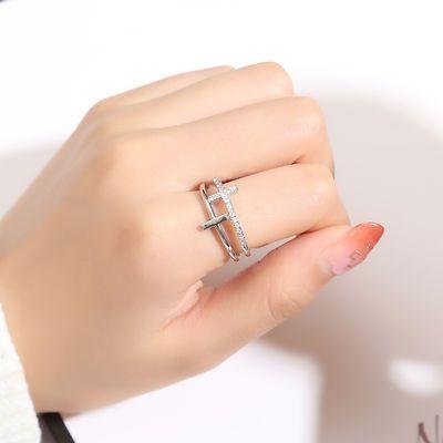 开口双十字架食指戒指女潮可调节指环网红时尚个性简约装饰品戒子