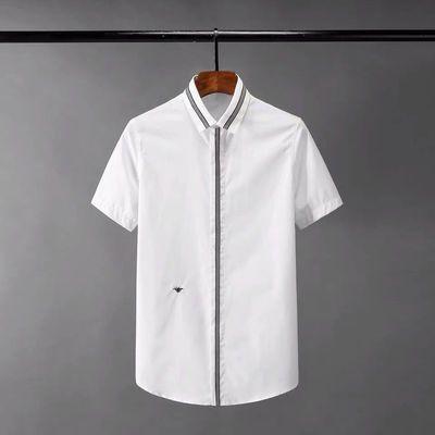 免烫抗皱无痕小蜜蜂刺绣欧美男士短袖修身时尚衬衣高档商务衬衫男
