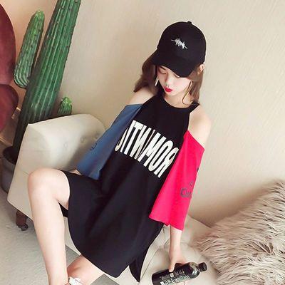 夏季短袖t恤女学生韩版半袖体恤衫女装2020新款宽松露肩上衣ins潮