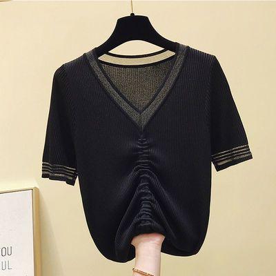 【90-180斤】V领冰丝短袖T恤女夏抽绳大弹力薄款针织短袖紫色上衣