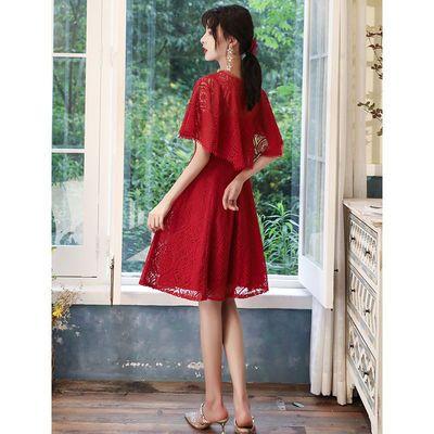 新娘敬酒服女夏季薄款显瘦气质订婚回门平时可穿酒红色法式小礼服
