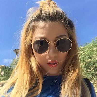 粉色圆框墨镜新款韩版潮复古时尚太阳镜明星网红同款女眼镜学生男