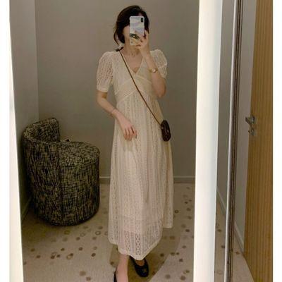 大Eees 轻婚纱法式显瘦重工连衣裙 立体钩花香槟白蕾丝裙 长短款