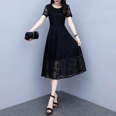 蕾丝连衣裙宽松遮肚减龄显瘦夏装新款大码女装胖mm200斤气质长裙