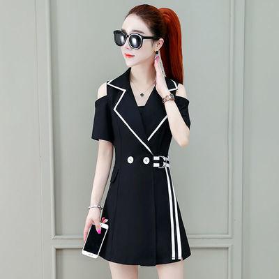 西装裙套装女2020夏新款露肩西装裙连衣裙+高腰打底短裤两件套