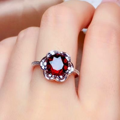 富贵花开红宝石戒指女 姐姐石榴石戒指 可爱戒指 乘风破浪戒指盒