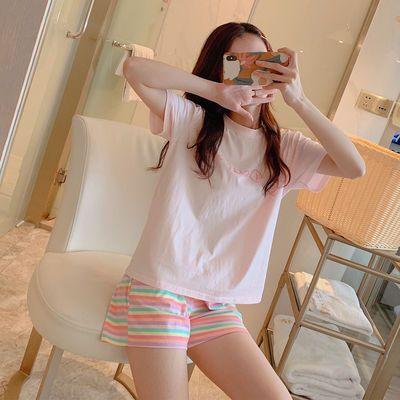 高品质夏季纯棉粉色睡衣女士学生薄款2020新款韩版家居服两件套装