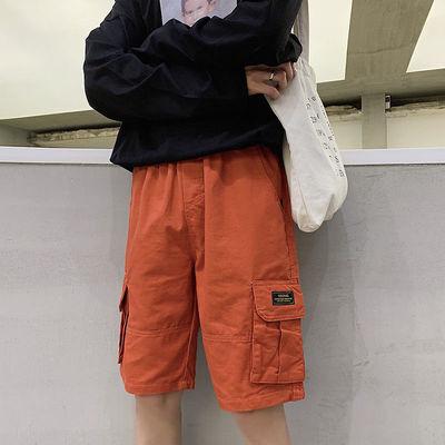ins工装短裤男夏季日系潮牌大口袋宽松休闲卡其色潮流直筒五分裤