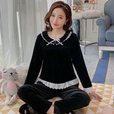 可外穿睡衣女金丝绒秋冬季两件套装长袖韩版法兰绒蕾丝花边家居服