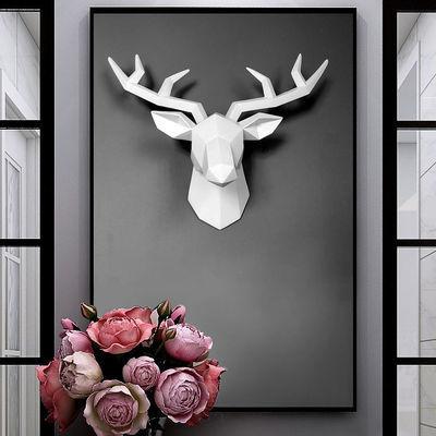 ins北欧几何鹿头壁挂装饰客厅酒吧墙面动物壁饰立体创意麋鹿挂件