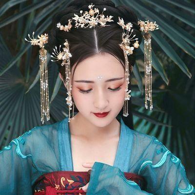 汉服发冠女古风凤冠头饰全套古装古代发饰仙气造型流苏步摇假发簪
