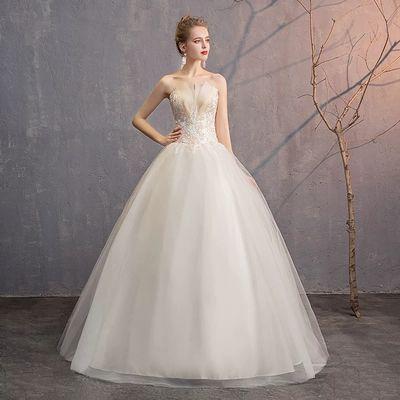 婚纱礼服2019新款森系法式抹胸新娘女显瘦简约结婚裙齐地出门纱轻
