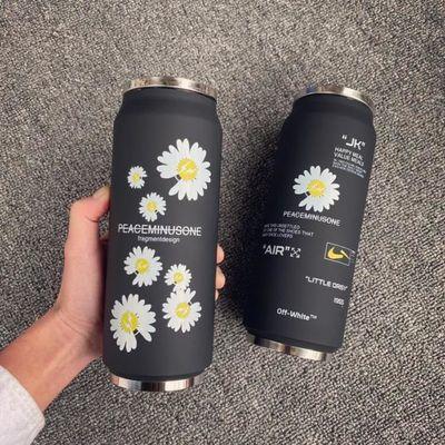 黑色小雏菊吸管杯权志龙同款易拉罐保温杯GD男女便携式车载水杯子