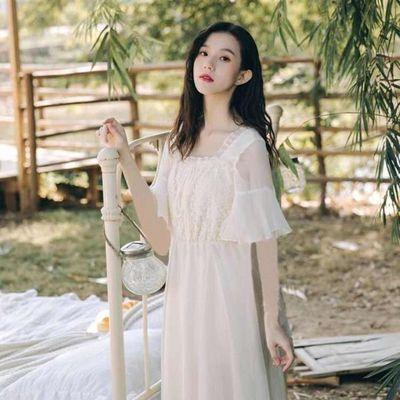 2020新款春夏装时尚法式初恋仙女裙温柔超仙森系蕾丝雪纺连衣长裙
