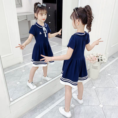 女童纯棉连衣裙儿童洋气裙子女宝宝夏装2020新款女孩夏季学院风裙