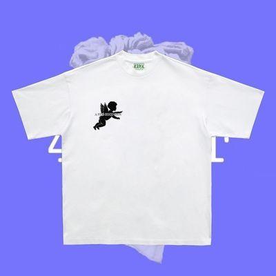 马思唯同款印花蓝色天空白云夏季新款潮流T恤男小领口宽松短袖TEE