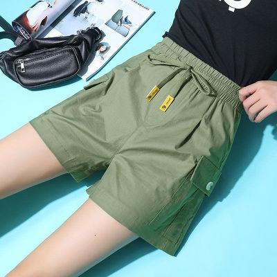 天丝弹力棉短裤女夏宽松2020薄款高腰显瘦休闲裤时尚松紧腰工装裤