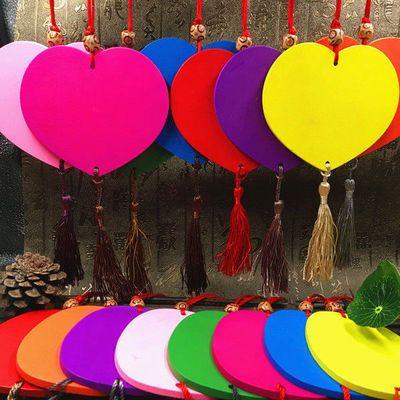 一百个彩色爱心吊牌幼儿园装饰木牌创意许愿牌祈福牌风铃可印LOGO