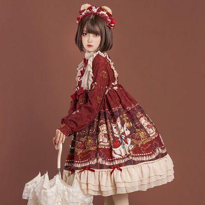 豹了个猫原创 lolita酒红色皇冠熊OP长袖宽松连衣裙洛丽塔