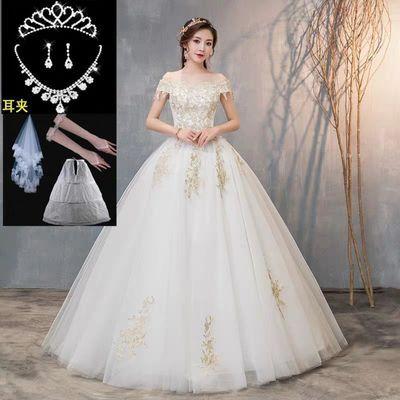 新娘一字肩婚纱显瘦森系刺绣婚纱新款齐地法式礼服女蓬蓬裙送头纱