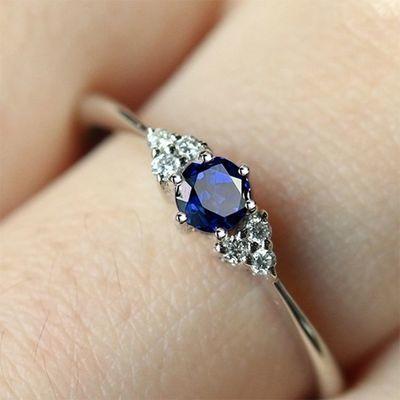 新款戒指乘风破浪 石榴石戒指女 姐姐同款戒指 纯银蓝宝石戒指盒