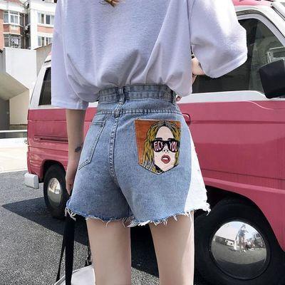 牛仔短裤女2020夏季新款个性印花显瘦宽松ins破洞毛边阔腿裤热裤