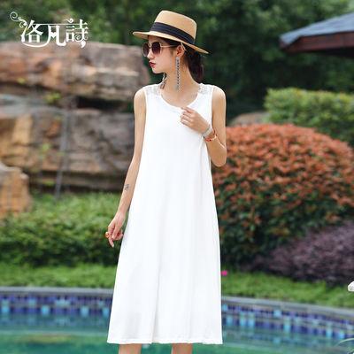 洛凡诗白色吊带连衣裙女中长款2020夏季新款打底裙显瘦蕾丝裙背心