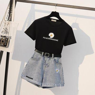 套装 新款小雏菊印花T恤上衣+高腰显瘦牛仔阔腿短裤两件套潮