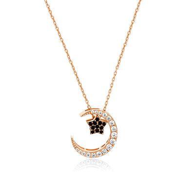 银尚圈 925银弦月流星项链项圈星星月亮颈链 情人节礼物锁骨链