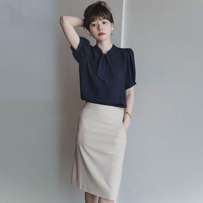 藏青色领结款泡泡袖衬衫女装2020年夏季新款时尚气质优雅上衣衬衣