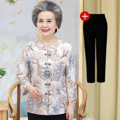 奶奶夏装套装中老年人女妈妈唐装上衣60岁70老人衣服太太夏季衬衫
