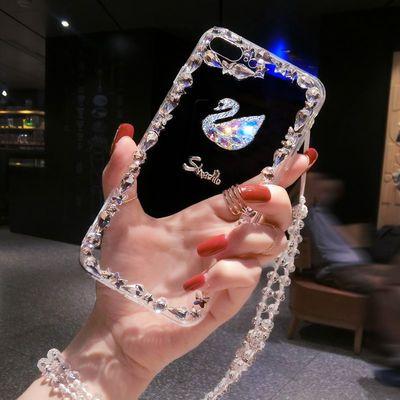 苹果6s plus手机壳5带钻挂绳6防摔7/8/X/XR/XS max全包边4s奢华款