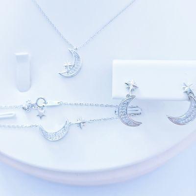925银饰星月流苏项链女三件套新款网红女友礼物耳钉手链女友闺蜜