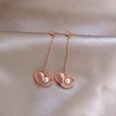 海之女貌美贝壳珍珠长款耳环925银耳针气质简约流苏耳钉时尚耳饰