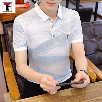 男士短袖t恤夏季修身翻领体恤韩版潮流衬衫领POLO衫青年半袖上衣