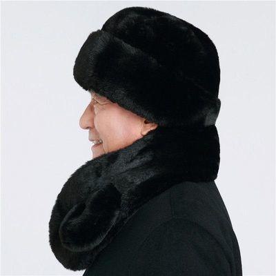 加厚中老年帽子仿水貂毛老人雷锋帽男士冬季保暖爷爷爸爸老头棉帽