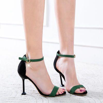 女夏季2019新款韩版百搭10cm高跟鞋子性感细跟网红一字扣露趾凉鞋
