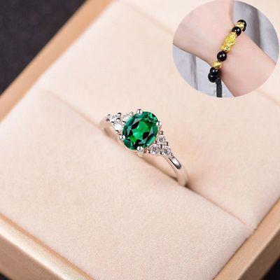 【送手链】 s925银红蓝绿紫款宝石戒指女 开口可调节时尚日韩饰品