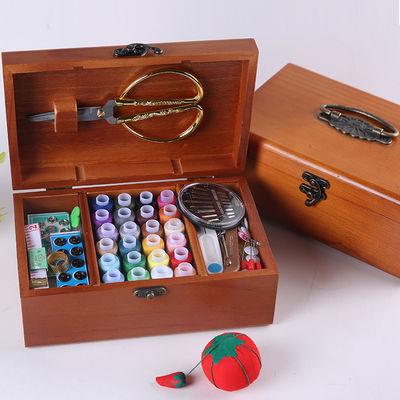 线盒套装针线包家用复古缝纫线收纳盒十字绣工具实木针线盒手拎针
